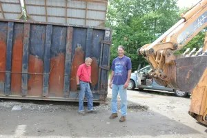Harold and Joe at the Transfer Station. Terry was taking care of his elderly mom that day.