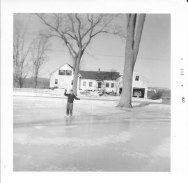 Skating on the pond across the street