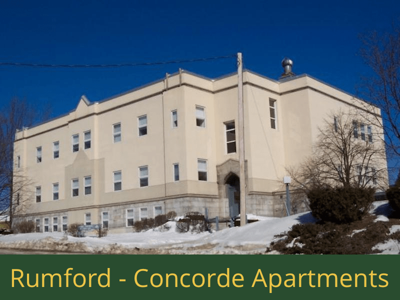Rumford - Concorde Apartments: 27 units total – (20) 1 bedroom apartments, (4) 2 bedroom apartments, and (3) 2 bedroom handicap accessible apartments