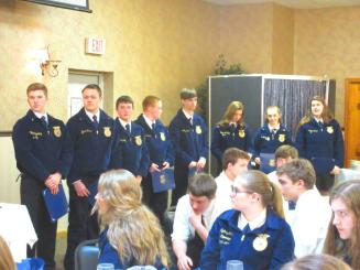 Recipients of scholarships to the Washington Leadership Conference, a one week leadership training organized by the National FFA, are recognized. Scholarships were presented on the basis of an application expressing learning objectives, as well as letters of recommendation.