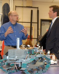 Page image: Commissioner Bowen speaks with a Sanford Regional Technical Center instructor.