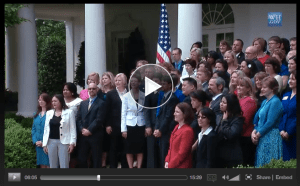 Article image: Still from video of White House Rose Garden ceremony.