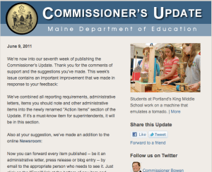 Image of the fully formatted Commissioner's Update.