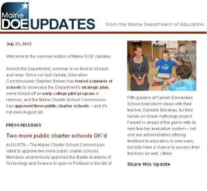 Maine DOE Updates, July 2012