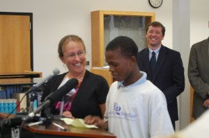Linda St. Andre, principal of Governor James B. Longley Elementary School,  and her sixth grade student, Yousif Ahmed, spoke about his path to English literacy after moving to Maine from Yemen.