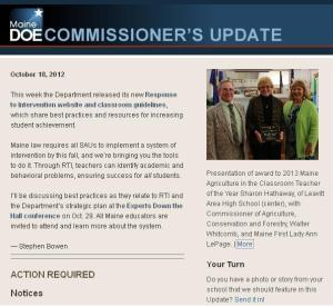 Commissioner's Update – October 18, 2012