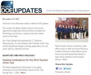 Maine DOE Updates – November 2012