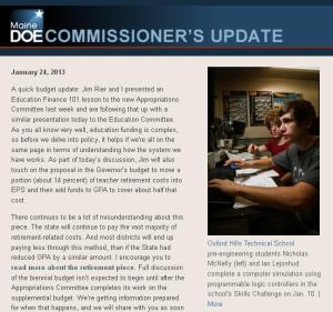 Commissioner's Update - Jan. 24, 2013