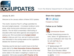 Image of Maine DOE Updates - January 30, 2013