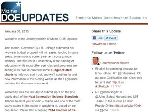 Image of Maine DOE Updates - January 30, 2013