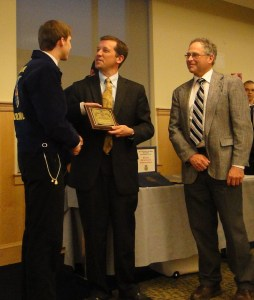 Maine FFA State President Isaac Wortman (left) presents honorary state FFA degrees to Commissioners Bowen and Whitcomb.