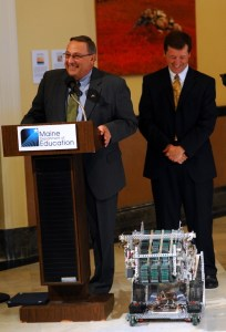 Governor LePage and Commissioner Bowen speak to school robotics teams.
