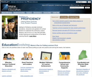 Screenshot of redesigned Maine DOE homepage.