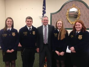 Maine FFA State Officers with Maine Department of Agriculture, Conservation & Forestry Commissioner Walt Whitcomb