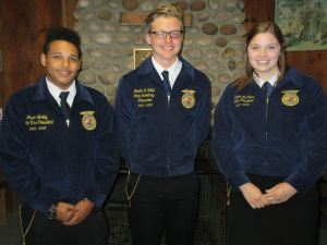 Maine FFA Officers from left to right: Vice President Jason Gurley,  Secretary-Treasurer Jordan White, and President Dayna McCrum.