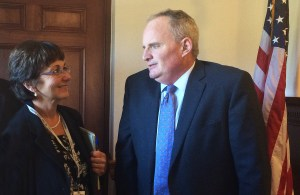 Acting Commissioner Tom Desjardin and Communications Director Anne Gabbianelli in the Cabinet Room of the State House on Sept. 23
