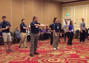 University of Maine physical education students engaging in PE a session