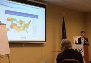 Maine DOE's Anita Bernhardt discussing the national picture of proficiency-based education at the summit.