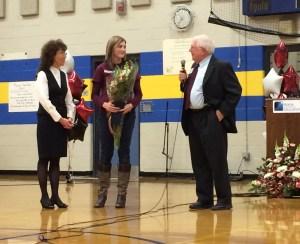 Acting Education Commissioner Dr. Bill Beardsley congratulates Ms. Lamarre