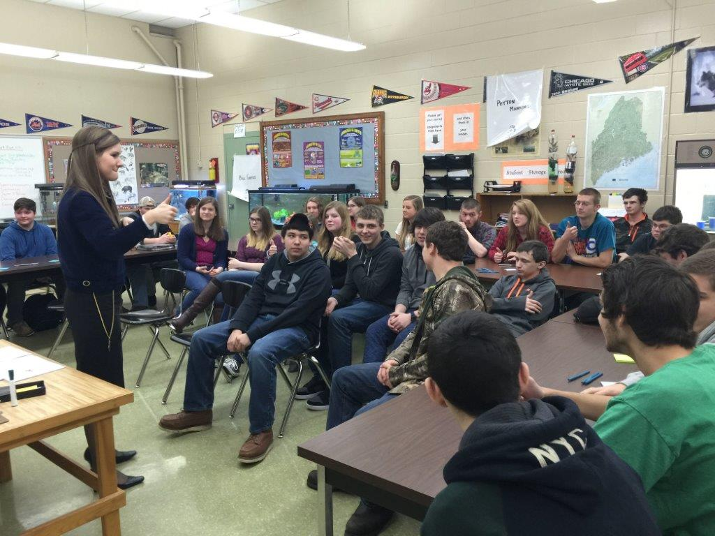National FFA Vice President Sarah Draper talks to horticulture and natural resources students at Presque Isle Regional Career & Technical Center