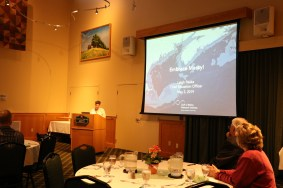 Leigh Peake, Chief Education Officer at the Gulf of Maine Research Institute delivering the keynote.