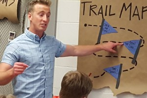 """Trainer Alex Morrissey describes the """"Trail Map"""" for the Base Camp Training"""
