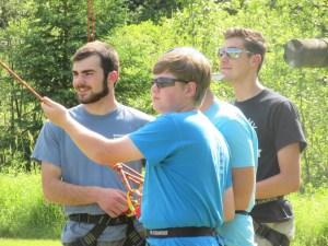 Belaying students on high ropes (Graham Berry, foreground)