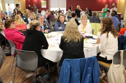 """Mill Stream Elementary School working with """"Critical Friend"""" Talya Edlund. Group members include: Donna Hautala, Kathleen Houston, Julie Kimball, Barbara Welch, Patty Moody, Eileen Crowley, Mary Swindells"""
