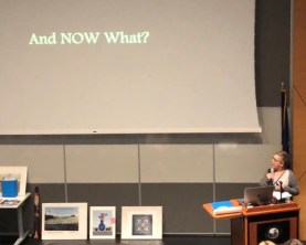 "educator presenting with a big slide that reads, ""And NOW What?"""