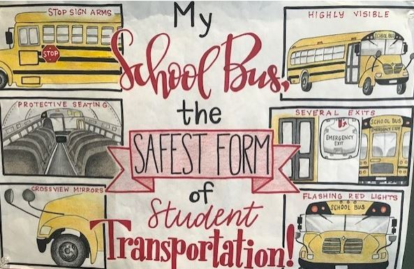 "Drawings of school buses with text: ""My School bus, the safest form of student transportation!""!"""