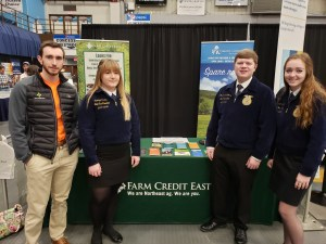 Maine FFA State Officers visit with Jameson Little, Credit Analyst at Farm Credit East, a major Maine FFA sponsor