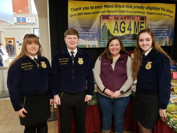 Maine FFA State Officers visit grant supporting organization, Maine Agriculture in the Classroom (Program Assistant Kelsey Fortin in center)