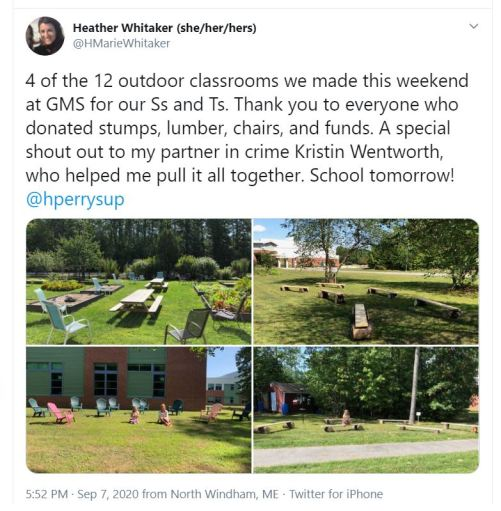 social media post about outdoor classrooms at Gorham Middle School
