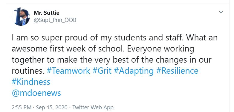 social media post by OOB superintendent thanking staff and students for a great week