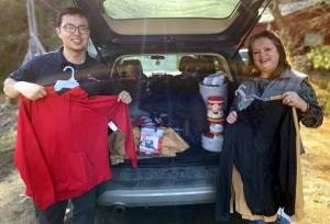 Willie and Jared Grenier of Maine Agriculture in the Classroom deliver items to the Waterville Homeless Shelter