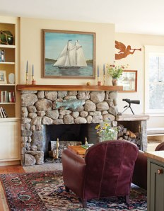 stone fireplace in livingroom