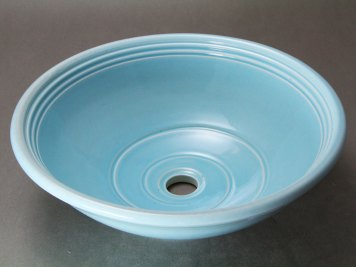 Blue CBath Vessel Sink with Blue Celadon Glaze