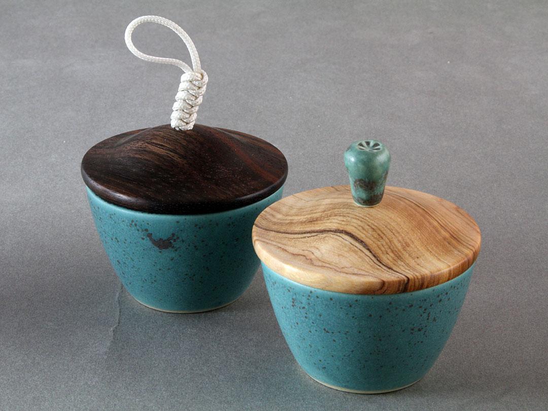 Wood Lid Bronze Glaze Cup Set
