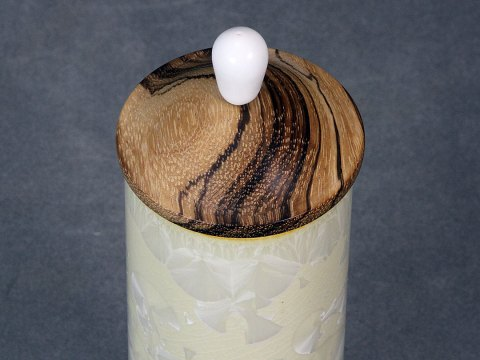 Crystalline Glazed Vase With Wood Lid