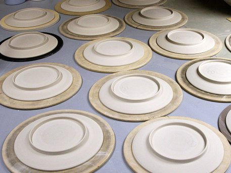 Greenware Serving Plate Drying Before Firing