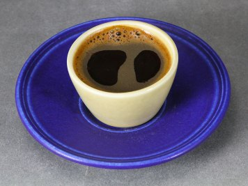 Cobalt Saucer with Yellow Demitasse Cup