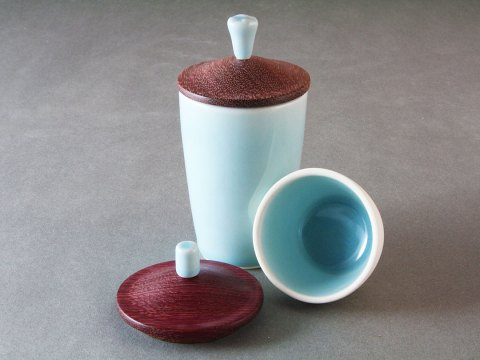 Sky Blue Celadon — Wood Lid Cups