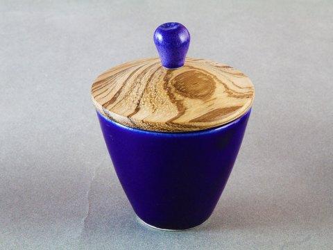 Cobalt Blue Porcelain Cup — Zebrano Wood Lid