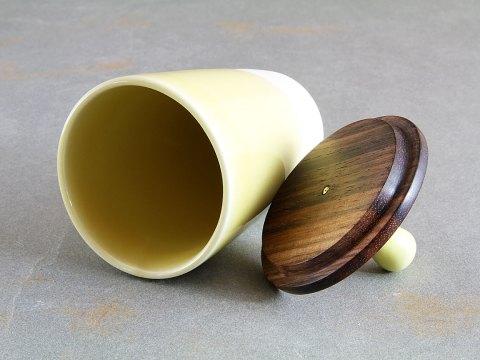 Yellow Porcelain Cup — Ebony Wood Lid