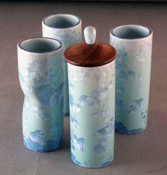 Crystalline tube vases wood lid