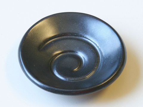 Spiral glaze sample dish satin black matte