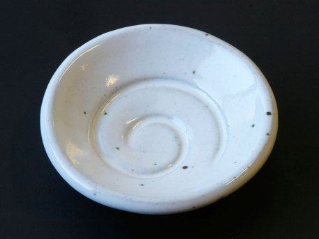 Spiral glaze sample dish white stoneware