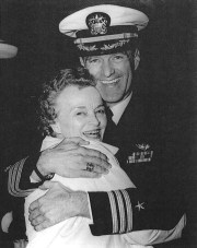 Jim Hickerson being greeted by his mother, Faye Hickerson, at Hickory, NC Airport, April 1973
