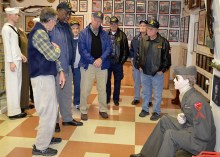 Members of Post 148 with Tour Guide Tom Billen (USAF retired). From L-R, Tom, Post members: Willi Goodman, Bob Miele, Horne, Jerry Black, Bob Beane, and Chuck Whynot. Photo by Rod Vosine, Vietnam 50th Anniversary Committee chairman.