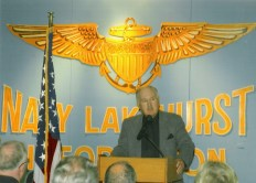 Lee Humiston delivering the opening speech for the POW display in old Hanger #1 on Lakehurst Naval Air Station in New Jersey.